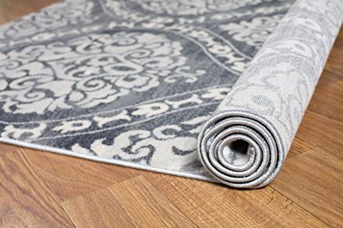 Rugshop 702Gray5 'x Transitional Damask Rug, 7', Gray