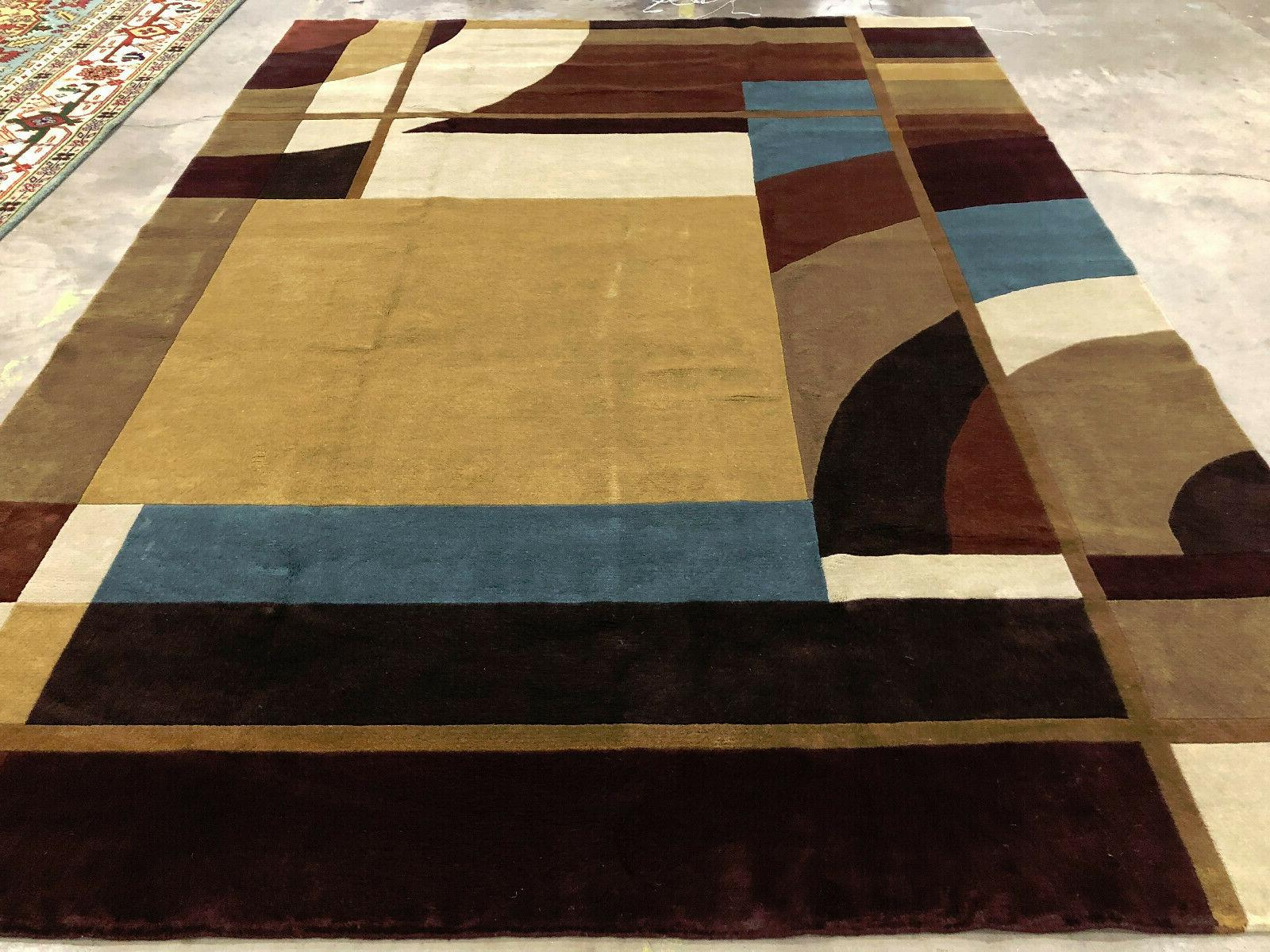 8x11 MODERN WOOL RUG HAND KNOTTED abstract contemporary hand