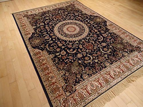 Rugs Navy Living Rugs Area Navy Traditional 8x11 Room Silk Tabriz Design Low Pile