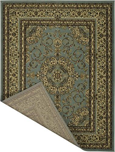 "Ottomanson Collection Area Rug, 7'10"" X9'10, Seafoam Oriental Medallion"
