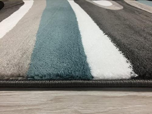 """Rugshop Abstract Contemporary Modern Area Rug 2' x 7'2"""", Blue"""