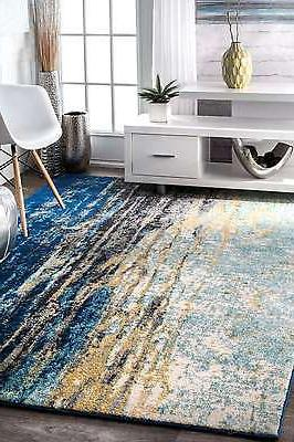 nuLOOM Abstract Contemporary Area Rug Multi Blue,