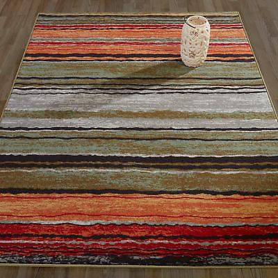 Diagona Designs Anne Stripe Orange/Red Area Rug
