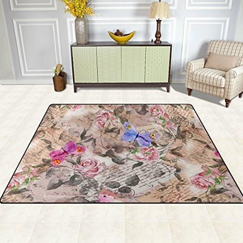 """ALAZA 5'3""""x4'Rose Butterfly Letters Polyester Floor Mat for Living Room"""