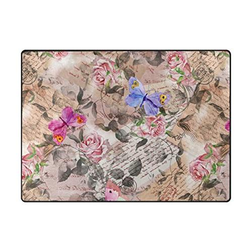 ALAZA Butterfly Letters Polyester Floor Mat for Living Room