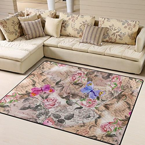 area rug 5 rose butterfly