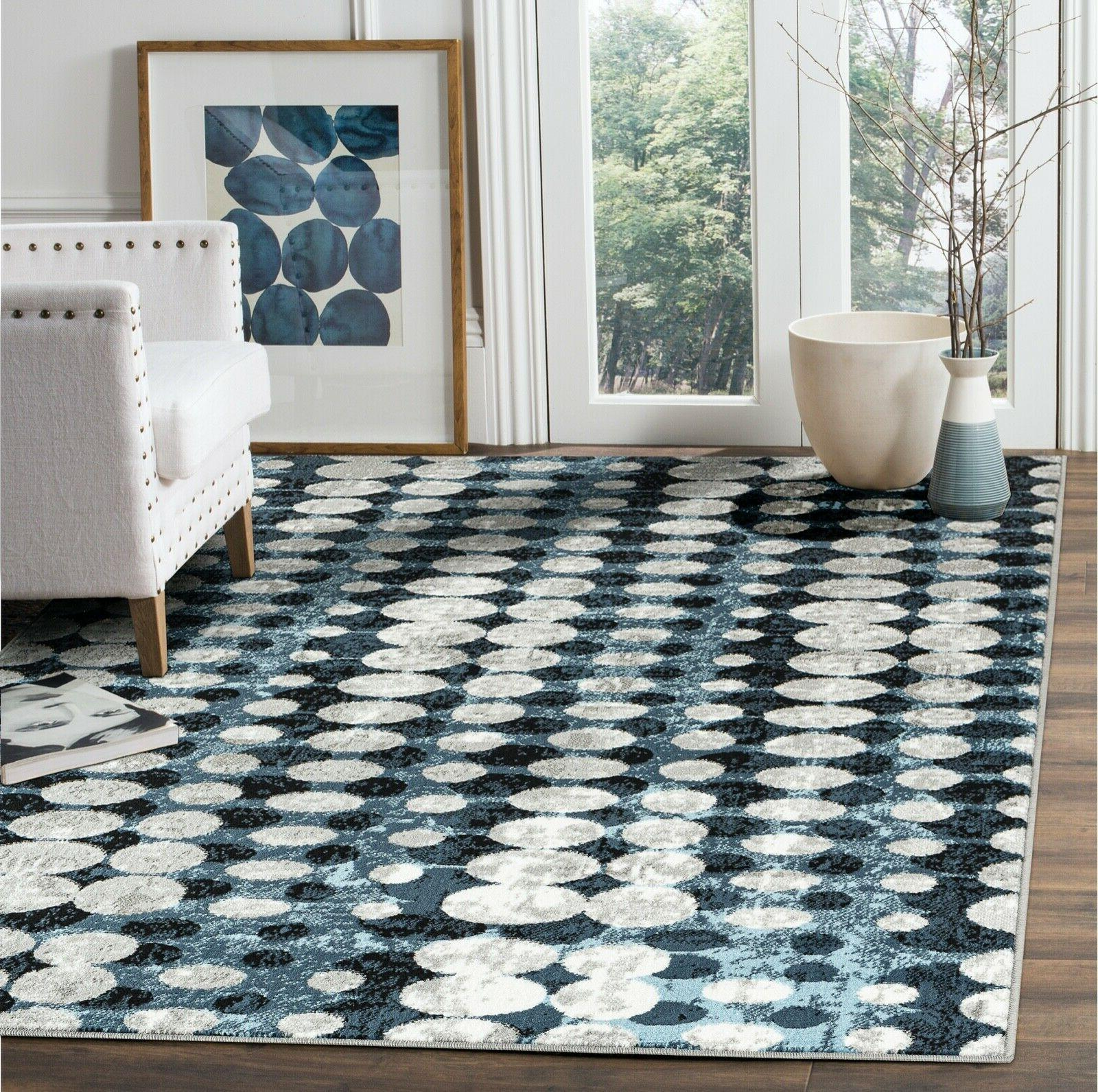 area rug capr128 modern abstract circles blue