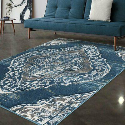 Allstar Rugs Blue and Grey Traditional Hand Carved Rectangul