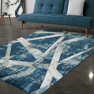 Allstar Rugs Blue and Turquoise Hand Carved Linear Rectangul