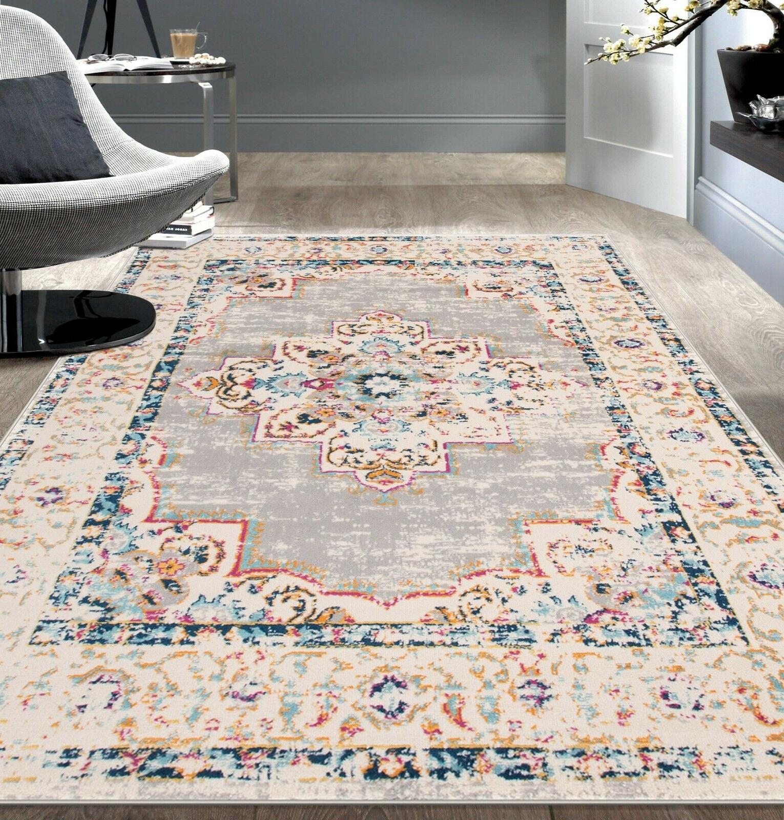 bohemian medallion distressed design area rug