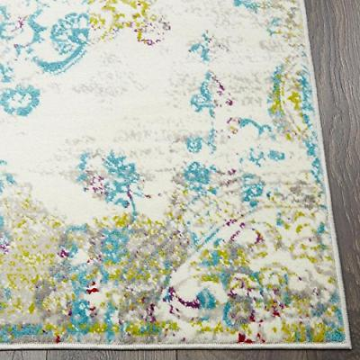 Home Area Vintage Abstract Ivory/Blue/Red