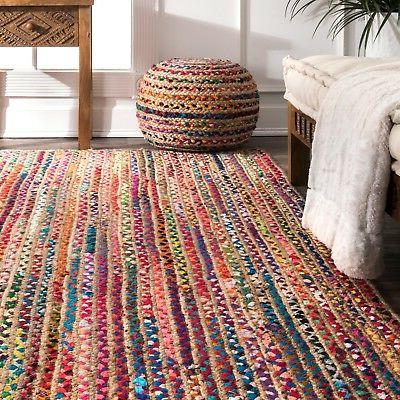 nuLOOM Braided Bohemian Natural Jute and Cotton Area Rug