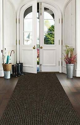 "Brown Indoor/Outdoor Area Rug Non Slip Backing 1/4"" Thick"