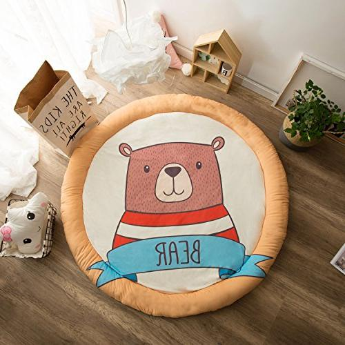 Beige Habudda Warm Soft Cotton Luxury Plush Baby Crawling Rugs Educational ABC Alphabet Area Rugs Kids Teepee Tent Game Play House Round 1.2 meters 47.24 inch Diameter