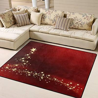 ALAZA Christmas Gold Star Red Area Rug Rugs for Living Room