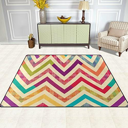ALAZA Colorful Bright Chevron Area Rug Rugs Living Bedroom