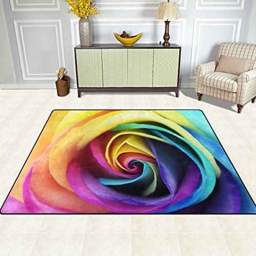 ALAZA Colorful Rainbow Flower Area for Living Room 7' x 5'