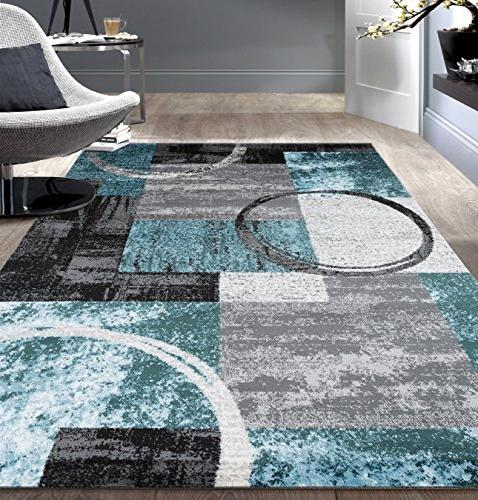 Contemporary Abstract Circle Design Soft Indoor Area Rug