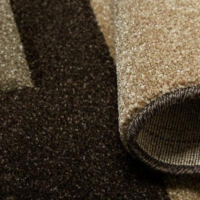 Contemporary Brown Area Hand Squares Abstract Carpet