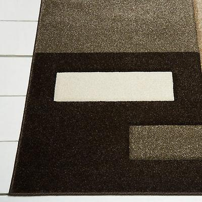 Contemporary Brown Modern Area Rug Hand Squares Abstract