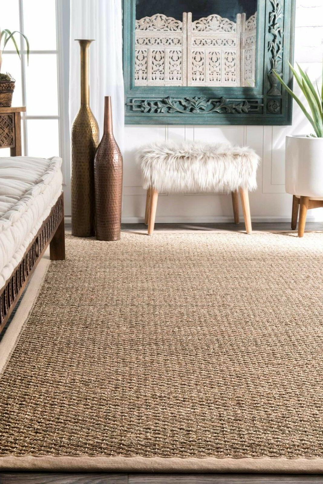 nuLOOM Contemporary Elijah Seagrass Border Beige Area Rug