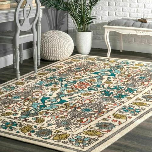 contemporary floral janise area rug in multi