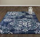 DIAGONA DESIGNS Contemporary Medallion Design Area Rug, Navy