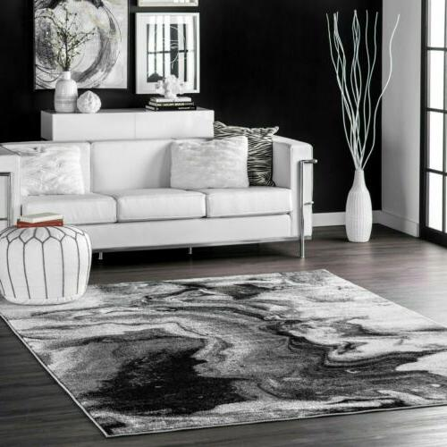 contemporary modern abstract marble area rug in