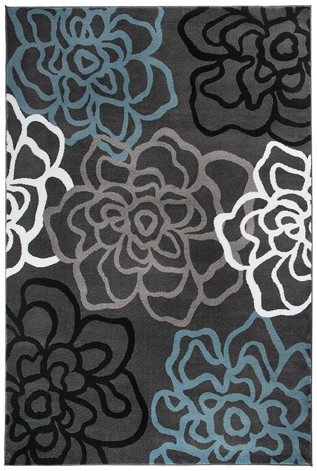 "Rugshop Contemporary Modern Floral Flowers Area Rug, 5' 3"" Gray"