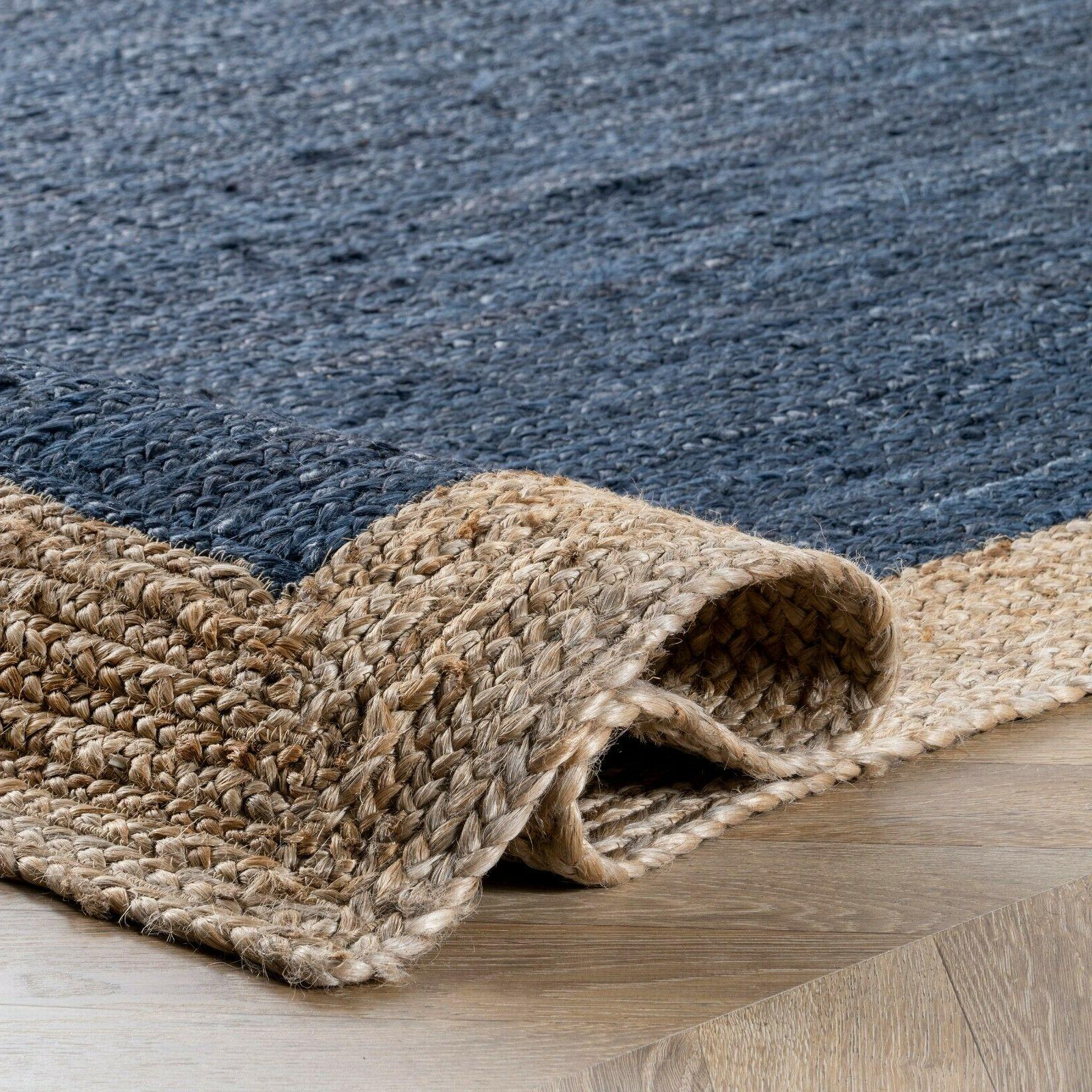 nuLOOM Contemporary Modern Simple Bordered Natural Jute Area Rug