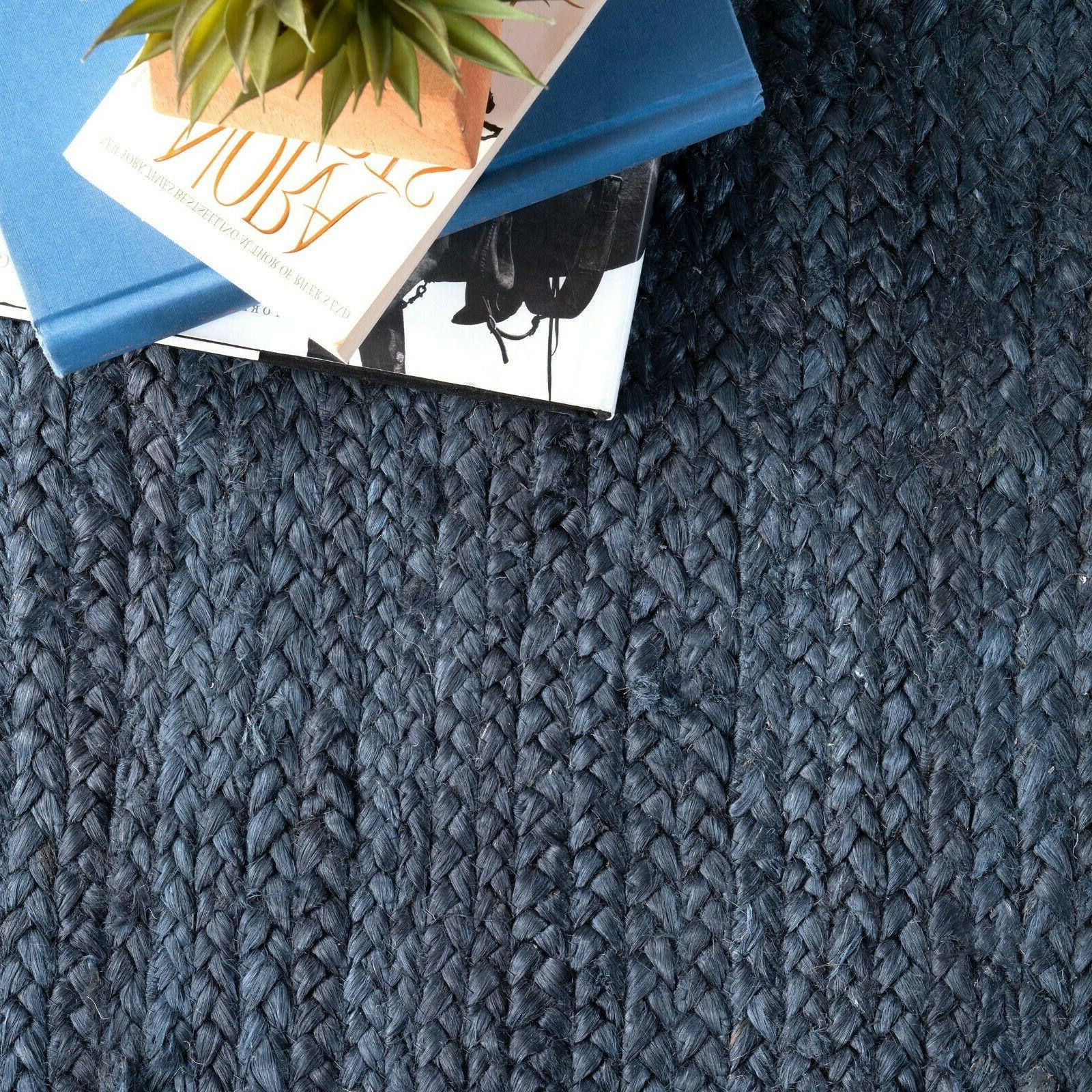 nuLOOM Contemporary Modern Bordered Natural Rug in Navy Blue