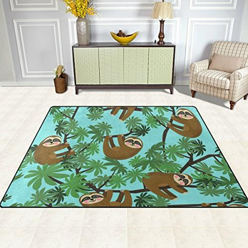 Cooper girl Cute Sloths kids Rug Learning Carpet for Room