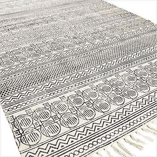 cotton printed area accent dhurrie