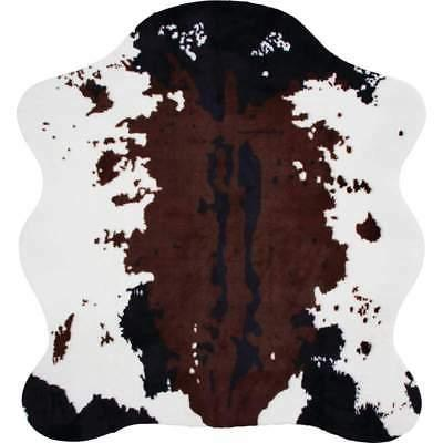 "COW PRINT Area RUG 56""x 61"" Slip Resist Backing Hide Skin We"