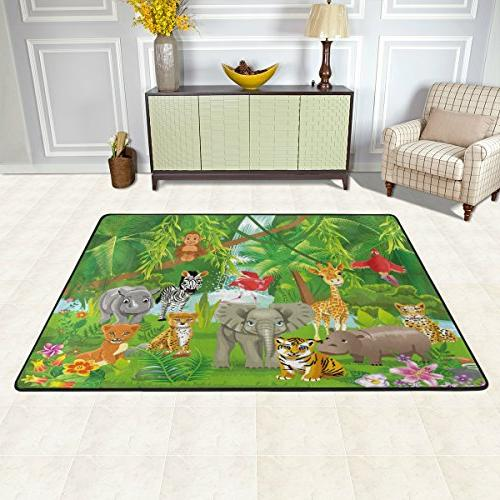 Naanle Cute 2'x3', Lion Polyester Rug for Living Room Bedroom Home