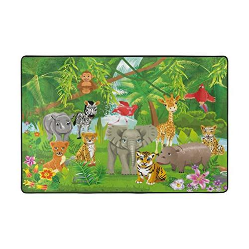 Naanle Cute Area 2'x3', Jungle Animals Lion Giraffe Polyester Area Rug Mat for Living Dining Room Bedroom