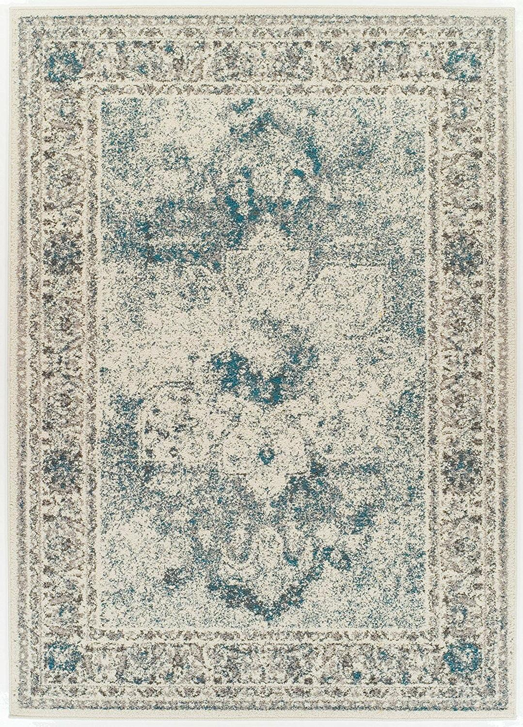 Distressed Rugs Cream 5x7 Living Room 2x8