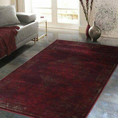 Allstar Rugs Distressed Wine Red and Burgundy Rectangular Ac