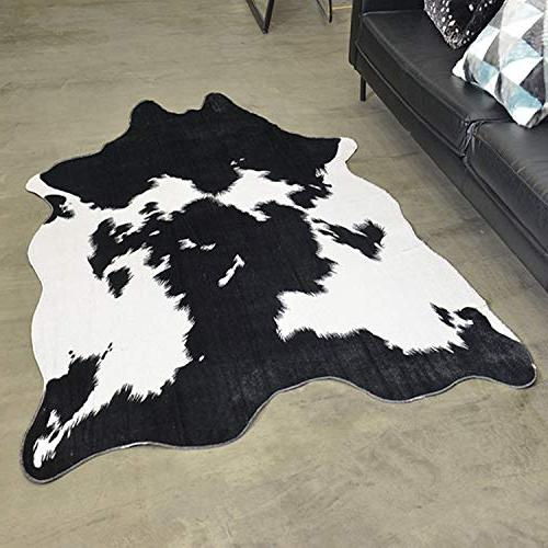 JaYe Fur and White Cowhide Rug,5x6.6 Feet Cow Area Rug