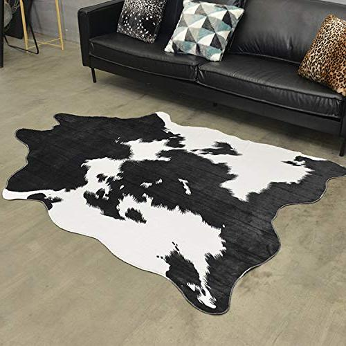 JaYe Black and White Cowhide Feet Cow Rug Large Size.