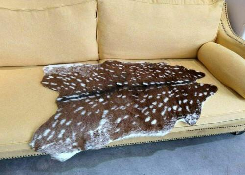 Faux Sika Deer Print Hide Skin Rug Fur Cowhide Animals Mat