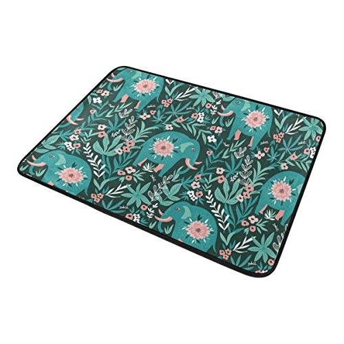 ALAZA Floral The Jungle Rug Mat Bath for