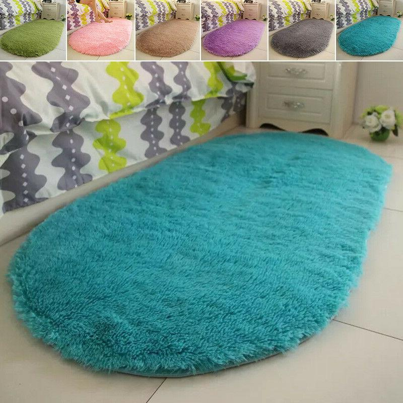 Fluffy Rugs Anti-Skid Shaggy Area Rug Dining Room Carpet Flo