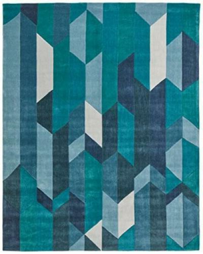 Geometric Color Area Rug 4 x Foot Blue 100% Living US