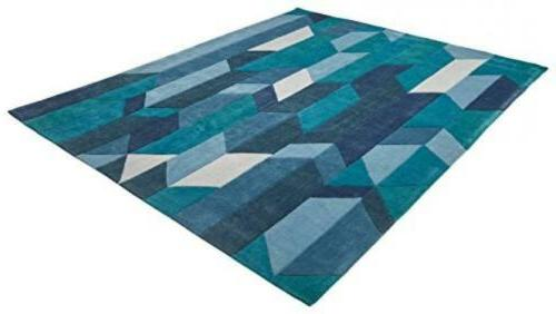 Geometric Color Area Rug x Foot Blue 100% Living US