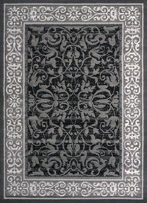 Grey Traditional Buds Vines Petals Swirls Area Rug United We