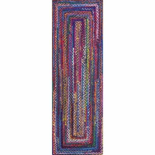 nuLOOM Braided Area Rug in Blue, Purple Chindi
