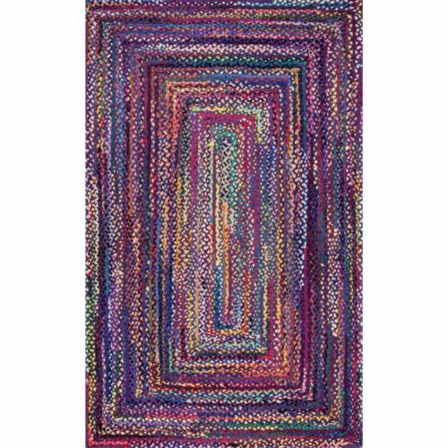 nuLOOM Braided Rug in Blue, Chindi