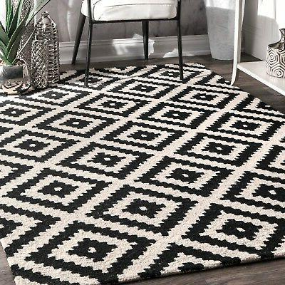 nuLOOM Hand Made Contemporary Geometric Wool Area Rug in Bla