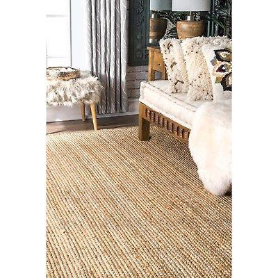 nuLOOM Hand Contemporary Modern Jute Area Rug in Natural Tan